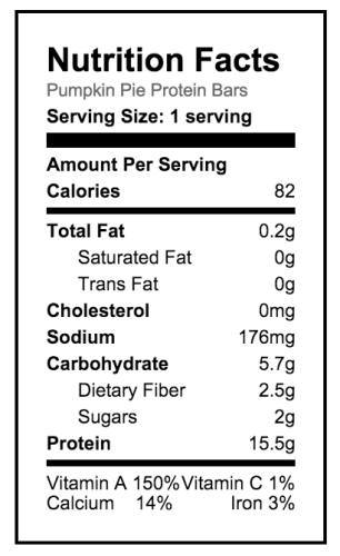 Pumpkin Pie Protein Bar Nutrition Facts
